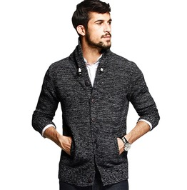 Autumn Men's Turn Down Collar Pockets Sweater 100% Cotton Knitted Cardigan