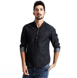 Gothic Black Button Pocket Men's Autumn Long Sleeve Denim Fashion Shirt