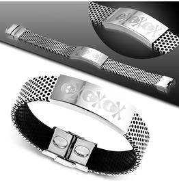 Stainless Steel W Black Rubber Pirate Skull Crossbones Watch Style Bracelet
