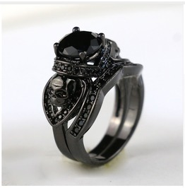 Black Double Skull Black Stone Wedding Engagement Ring