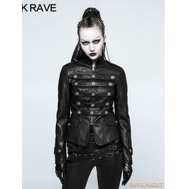 Black Gothic Punk Military Uniform Short Coat For Women Y 768 Bk