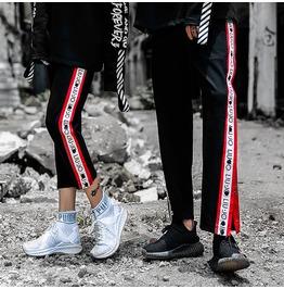 Fashion Men/Women Split Side Buttons Casual Long Pants Trouser