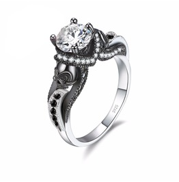 Gothic Skull Stone Wedding Engagement Ring