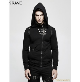 Black Gothic Punk Cardigan Sweater For Men Y 789 M