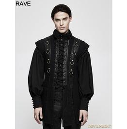 Black Gothic Punk Armor Style Vest For Men Y 810