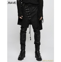 Black Gothic Punk Irregular Suede Skirt For Men Q 341
