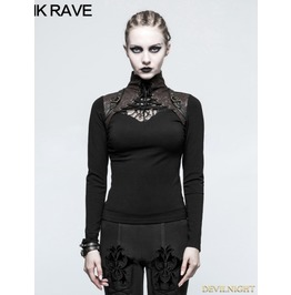 Black Steampunk High Collar Long Sleeves T Shirt For Women T 476 Bc