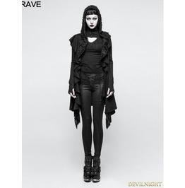 Black Irregular Gothic Hooded Sweater For Women M 037