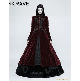 Red Gothic Palace Swallow Tail Long Dress Jacket For Women Y 776