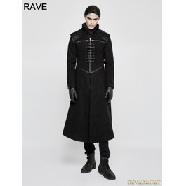 Black Gothic Punk Dark Long Style Coat For Men Y 777 M
