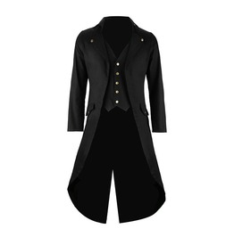 Gothic Steampunk Vest And Tailcoat Jacket Victorian Coat Black