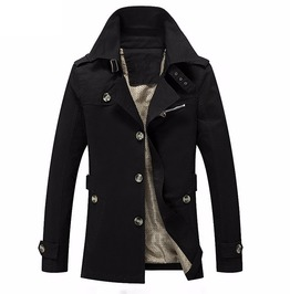 Military Fashion Big Buttons Zipper Pocket Casual Fit Overcoat Trench Coat
