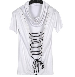 Gothic Punk Rock Rope Pile Collar Slim T Shirt Men