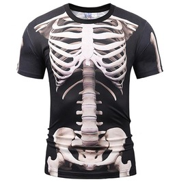 3 D Print Skeleton Skulls Punk Rock Men's Tops Tees Shirt