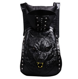 Goth Punk Rock 3 D Skull Wolf Pu Leather Backpack Rivets With Hood Cap Bag