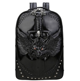 Gothic Punk 3 D Print Wolf Skull Skeleton Sword Rivets Pu Leather Backpack