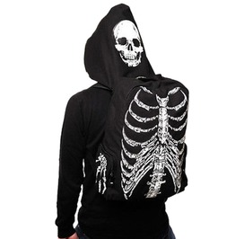 Men Women Skull Skeleton Printed Gothic Punk Street Backpack With Hoodie