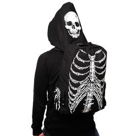 Men Women Skull Skeleton Printed Gothic Punk Street Backpack With Hoodie