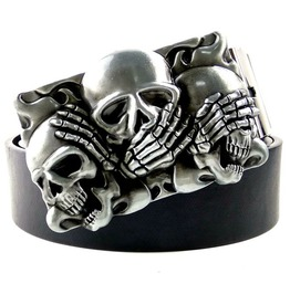 Punk Rock Skull Head Metal Buckle Pu Leather Belt Hear No Evil See No Evil