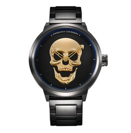 Punk Goth 3 D Skull Large Dial Waterproof Men's Quartz Stainless Steel Watch