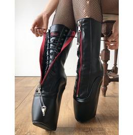 Rtbu Taboo Red Lockable Zip Ballet Wedge Hidden Lace Fetish Hoof Boot