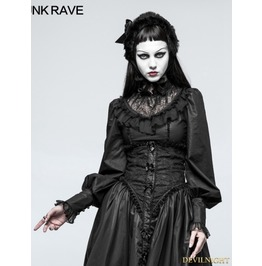 Black Gothic Lolita Leg Of Mutton Sleeve Shirt For Women Ly 063