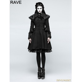 Black Gothic Lolita Fur Worsted Coat For Women Ly 064