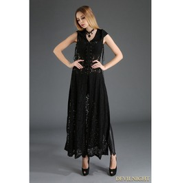 Black Gothic Lace Sleeveless Long Hoodie Outfit For Women M080011 A