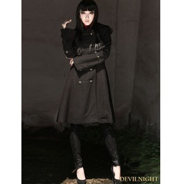 Black Gothic Hoodie Long Coat For Women M070089