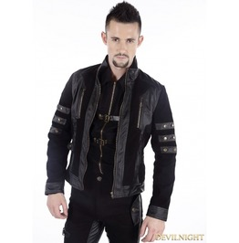 Black Gothic Punk Short Leather Jacket For Men M070073
