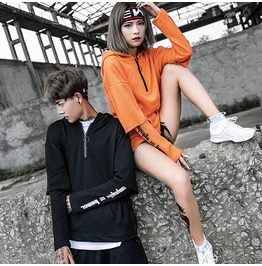 Hip Hop Couple Hoodies Fake Two Pieces Solid Color Casual Hoodie