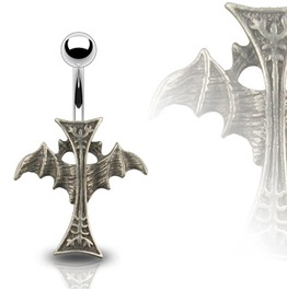 Navel Bar Bat Cross Pendant