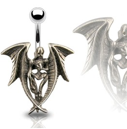 Navel Bar Death Angel Pendant