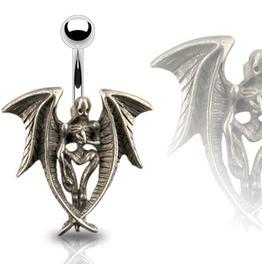 Navel Bar Death Angel Pendant