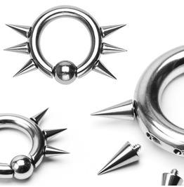 Captive Bead Ring W/ 6 Internally Threaded Spikes