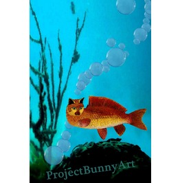 Goldfish Cat Fish Mixed Media