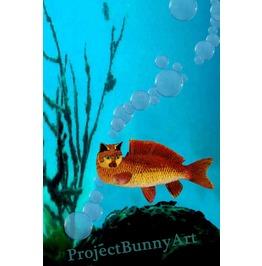 Goldfish Cat Fish Mixed Media
