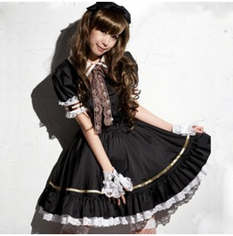 Japanese Gothic Cosplay Vintage Dress Black Lace Womens