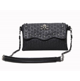 Skull Engraved Shoulder Faux Leather Bag Handbag Womens