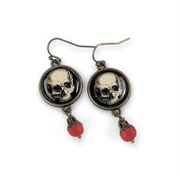 Classic Black And White Skull Earrings