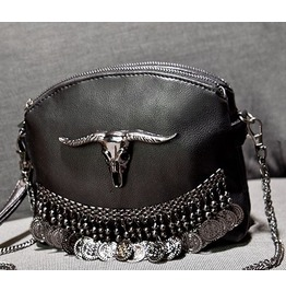 Punk Skull Bag Faux Leather Chain Detail Womens