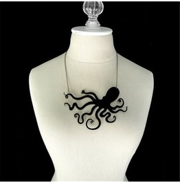 Steampunk Octopus Die Cut Pendant Collar Necklace