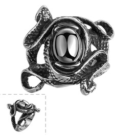 Twisted Snake Ring With Black Stone Center