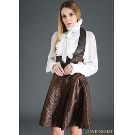 Coffee Steampunk High Waist Suspender Dress J030095 B