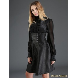 Black Gothic High Waist Suspender Dress J030095 A