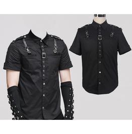 Mens Gothic Steampunk Short Sleeve Shirt Black Goth Fashion Blouse Shirts