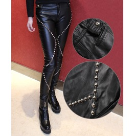 Women Gothic Pu Classic Metal Rivets Trousers Punk Tight Slim Slender Pants