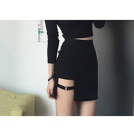 Sexy S Ide Buckle Punk Goth Mini Skirt Women's Black