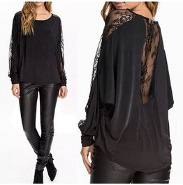 Rebelsmarket lace long sleeve black blouse top womens standard tops 6