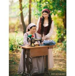 Vintage Long Sleeves Medieval Two Piece Set Dress Vid 0014